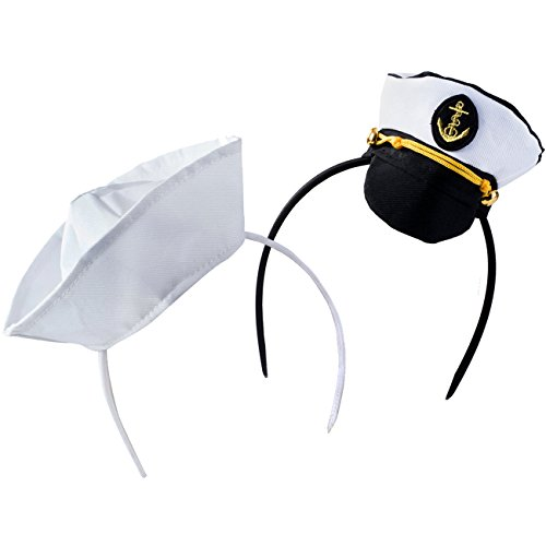 Tigerdoe Sailor Hat - Yacht Captain Hat – Costume Headbands - Mini Hat Headbands - (2 Pack) Black White ()