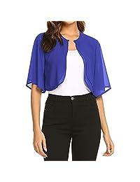 FEDULK Women's Short Sleeve Open Front Cardigan Solid Colour T-Shirt Tops Blouse