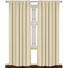 Utopia Bedding - Blackout Room Darkening and Thermal Insulating Window Curtains / Panels / Drapes - 2 Panels Set - 7 Back Loops per Panel - 2 Tie Back Included (Beige, 52 x 84)