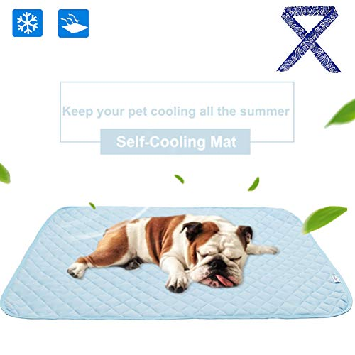 PUPTECK Pet Self - Cooling Mat with Cooling Bandana - No Gel & Water Inside for Dogs Cats Crate Couch Bed Pad Sleeping - Anti-Slip Water-Proof Multipurpose Pad