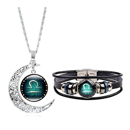 Dcfywl731 Fashion 12 Twelve Constellations Hand Woven Leather Bracelet and Moon Pendant Necklace Zodiac Sign Jewelry Set (Libra(9/23-10/23)) (Horoscope Libra Zodiac Sign)