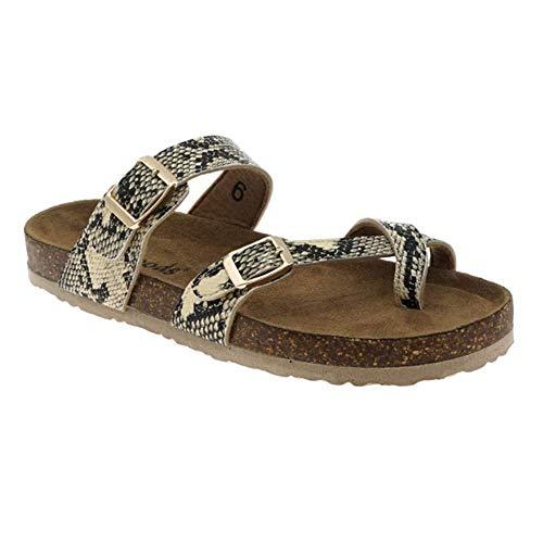 - OUTWOODS Pierre Dumas Womens Bork-30 Vegan Leather Toe-Loop Buckle Flats Sandals (8 M US, Beige Combo)