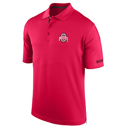 - J America NCAA Ohio State Buckeyes Men's Spector Poly Interlock Polo, Small, Red/Black