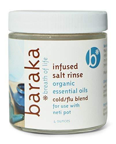 Baraka Neti Pot Infused Salt Rinse with 5 Essential Oils - Glass Jar (4oz) ()