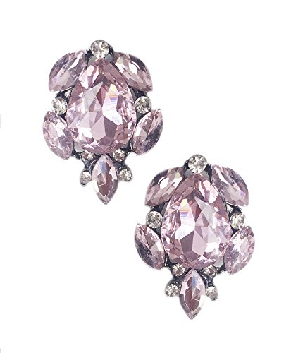 Silver Tone Antique Vintage Retro Deco Style Pink Rhinestone Cluster Statement Earrings