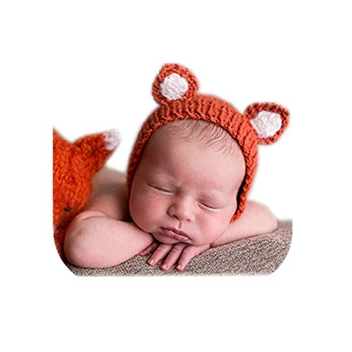 Luxury Cute Newborn Boy Girl Baby Costume Outfits Photography Props Little Fox Hat (Orange)]()
