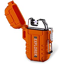 Dual Arc Lighter Double Arc Plasma USB Lighter Rechargeable Flameless Waterproof Stormproof Windproof Mini Electric Lighter for Cigar Candle Cigarette Pipe Sport Outdoor(Orange)