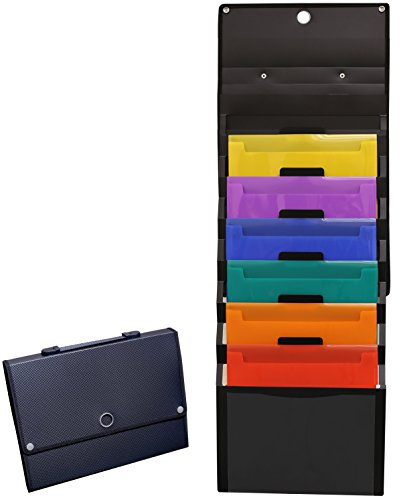 - DecoBros Cascading Wall Mount Holder Organizer, 6 Removable File Pockets, Letter Size