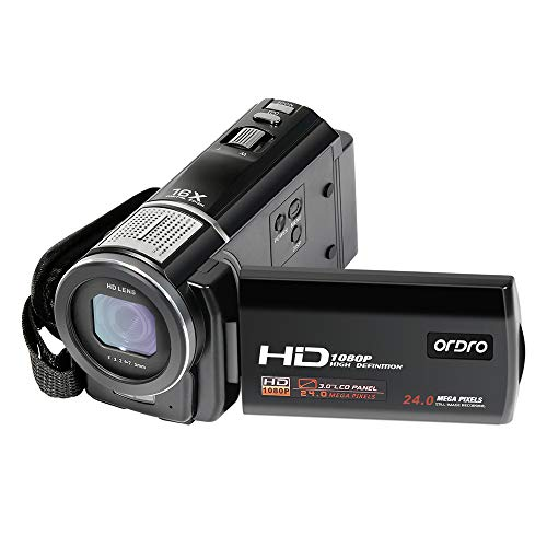 Video Camera, ORDRO Portable HD 1080P 30FPS Camcorder with Macro Vlogging Camera for YouTube Digital Camera Recorder DV Camcorders