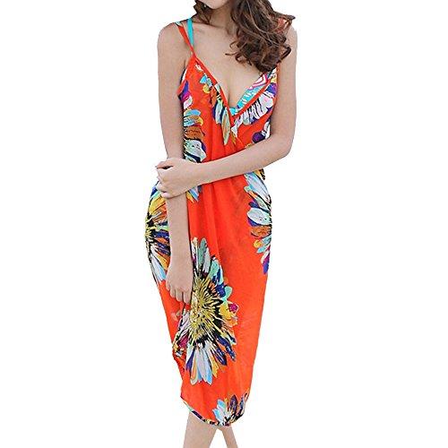 Teamyy Vestido de Gasa Playa Casual para Mujer del Estilo Bohemio Cuello en V Bikini Cover Up Pareo naranja