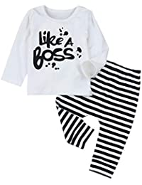 Baby Boy Clothes Like A Boss Long Sleeve T Shirt Tops + Striped Pants +Hat Outfits Clothes Set