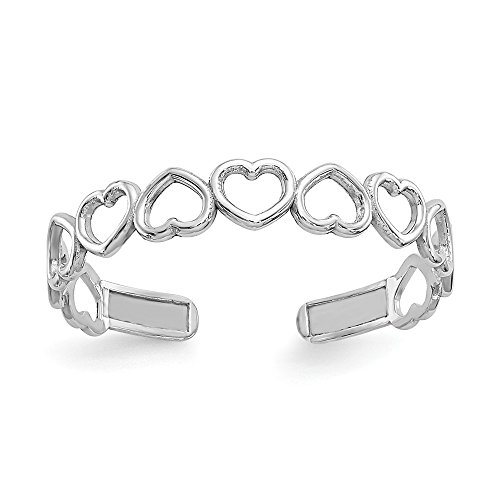 (14K White Gold Polished Cut Out Hearts Toe Ring)