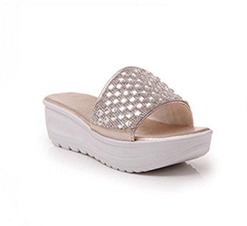 Le Donne Chfso Freddi Strass Casual Pantofole A Tacco Alto Sandali Scorrevoli Oro