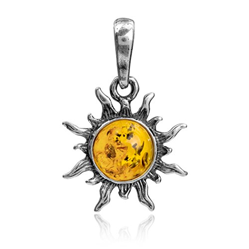 Ian and Valeri Co. Amber Sterling Silver Flaming Sun Pendant