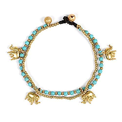 Artilady Layered Anklet Bracelet for Women - Gold Anklets Turquoise Elephant Anklets Charm Boho Anklet Handmade Foot Jewelry (Turquoise Elephant) ()