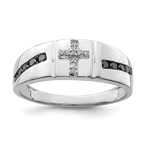 925 Sterling Silver Black White Diamond Cross Religious Mens Band Ring Size 10.00 Man Fine Jewelry Gift For Dad Mens For Him