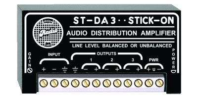 RDL ST-DA3 Amplifier Distribution with Impedance Conversion, Gain or Loss, up to 3 Outputs - Power Supply Included