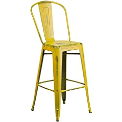 Flash Furniture 30'' High Distressed Yellow Metal Indoor-Outdoor Barstool with Back