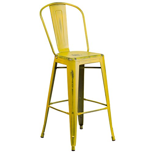 Flash Furniture 30'' High Distressed Yellow Metal Indoor-Out