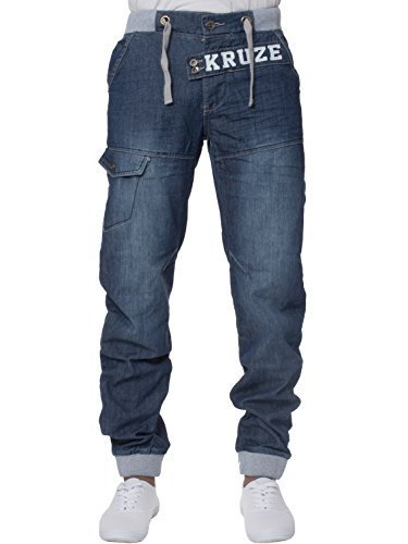 Vita Medio Taglie Jeans Pantaloni Slavati Con Marca Uomo Slavato Kruze Tutte Risvolto Elasticizzato Denim Di PHFagxwq