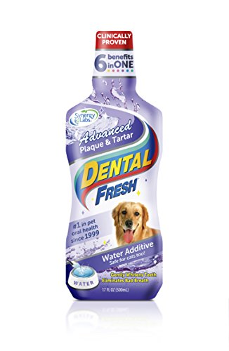 Dental Fresh Water Additive - Advanced Plaque and Tartar Formula for Dogs - Clinically Proven, Add to Pet's Water Bowl to Whiten Teeth, Eliminate Bad Breath and Improve Oral Health (17oz) from Dental Fresh