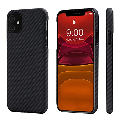 PITAKA Phone Case Compatible with iPhone 11 6.1 Minimalist MagEZ Case Aramid Fiber [Body Armor Material] Ultra Thin Super Light Magnetic Case,Strongest Durable Snugly Fit Cover- Black/Grey(Twill)
