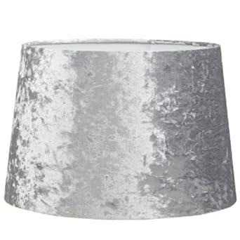 Luxurioumlser Lampenschirm Silber Samt Optik 23 Cm Zur