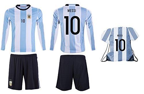 JerzeHero 2018 Argentina Messi #10 Kids Youth Soccer Gift Set ✓ Soccer Shirt ✓ Shorts ✓ Drawstring Bag ✓ Home or Away ✓ Short Sleeve or Long Sleeve (YS 6-8 Years, Home Long Sleeve)