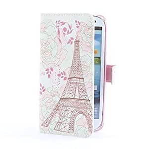 LZX Pink Eiffel Style PU Leather Case with Card Slot and Stand for Samsung Galaxy S3 i9300