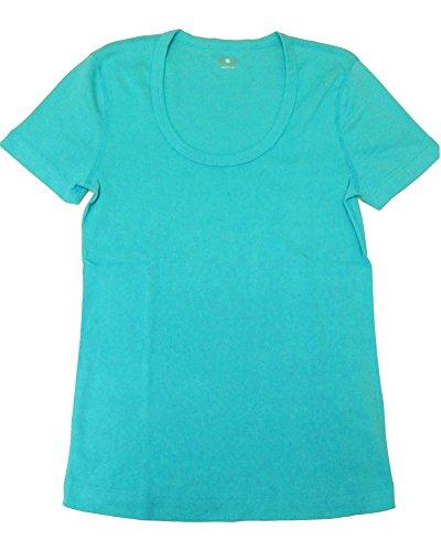 Three Dots Women's Short Sleeve Scoop Neck Tee,Small,Aqua Breeze