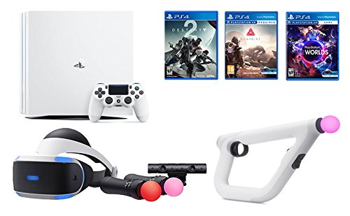 PlayStation VR Launch Bundle 3 Items: VR Launch Bundle,PSVR Aim Controller Farpoint Bundle, Playstation 4 Pro 1TB Console - Destiny 2 Bundle by Sony VR