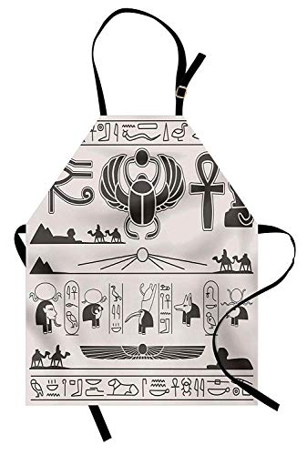 T&H Home Egyptian Apron, Historical Bastet Ankh Nile Roman Dynasty Hieroglyphic Osiris Pyramids, Unisex Kitchen Bib Apron Adjustable for Kids Adults Cooking Baking Gardening, Pearl Charcoal Grey]()