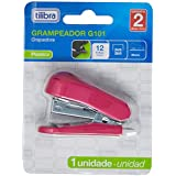 Grampeador 12 Folhas Mini com Extrator G101 Rosa,Tilibra - 1 un