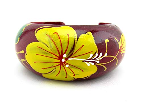 Hand Painted Colorful Open Cuff Bangle Handmade Wooden Bracelet for Women (Petunia - Scarlet)