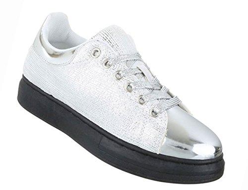 Damen Damen Damen Schuhe Freizeitschuhe Sneakers Turnschuhe Sportschuhe Gold Silber b93449