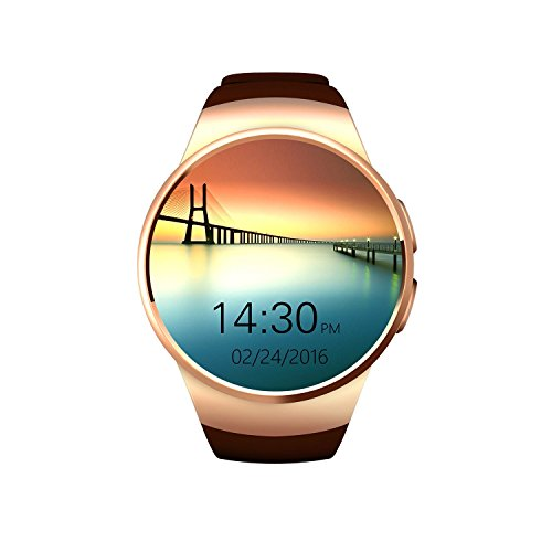 Efanr KW18 Round Bluetooth Smart Watch with Sim Card Slot, Wrist Watch Smartwatch Pedometer Fitness Activity Tracker Heart Rate Monitor for Android Samsung iOS iPhone X 8 Plus Men Women (Gold)