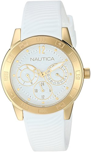 Nautica Men's 'LONG BEACH COLLECTION' Quartz Stainless Steel and Silicone Casual Watch, Color:White (Model: NAPLBC002)