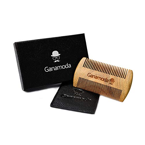 Beard Comb & cowhide Leather Case, Hair Mustache Combs-Dual Action Fine&Coarse Teeth-Perfect With Balms and Oils,Natural Handmade Verawood Green Sandalwood Beard by GANAMODA