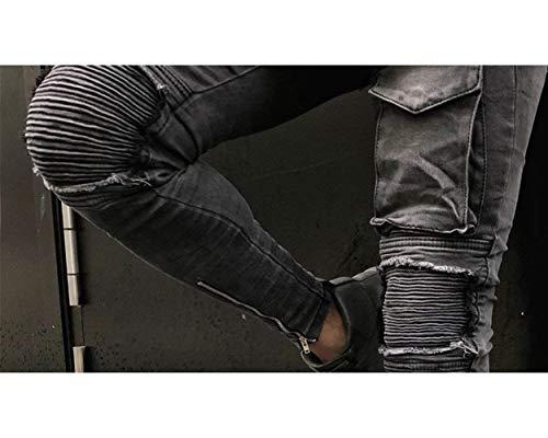 Pieghettati Uomo Da Biker Casual Grau Elasticizzati Denim Pantaloni Battercake Distrutti Skinny Style Look Jeans Comodo nfXqtER
