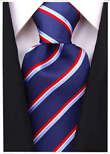 Core Stripe Ties for Men - Jacquard Silk Necktie - Navy Blue ()