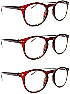 c0c17f9a32 3 PAIRS Retro Oval Classic Unisex Framed Reading Glasses with Spring Hinges  in 4 Colours