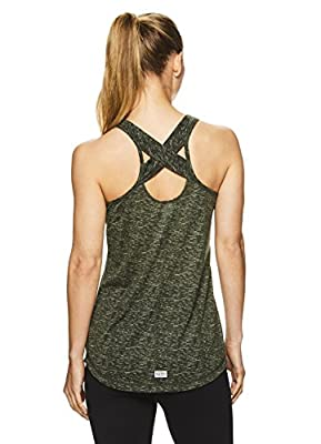 Nicole Miller Active Women's Criss Cross Strappy Racerback Tank Top w/Back Keyhole Cutout