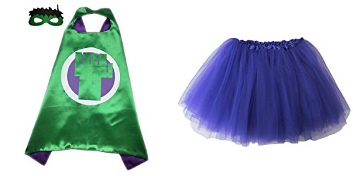 Superhero or Princess TUTU, CAPE, MASK SET COSTUME - Kids Childrens Halloween (Incredible Hulk - Green & Purple)