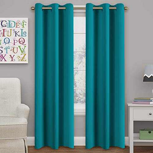 Turquoize Teal Blackout Curtains Themal Insulated Grommet/Eyelet Top Window Treatment Nursery & Infant Care Panels Drapes, Each Panel 42