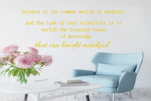 Science is the common wealth of mankind, and the task of real scientists is to enrich the treasure house of knowledge that can benefit mankind. Wall decor Decal Sticker Size: - Australia Common Frame Sizes