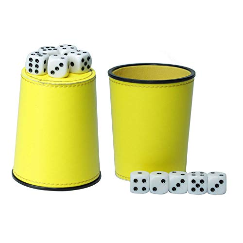 (Delta-shop Bundle of 2 PU Felt Lined Professional Dice Cup with 10 Dice Quiet for Yahtzee Game)