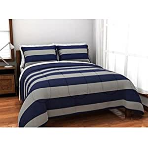 Boys Blue Gray Stripe Rugby College Dorm Reversible Twin