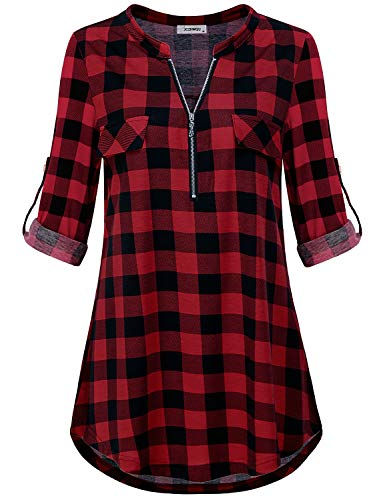 (Red Plaid Shirt Women, Juniors Tops Zip Up Round Neck 3/4 Rolled Sleeve Stylish Trendy Buffalo Check Tunic Tee to Wear with Boyfriend Jeans and Laggings Fall Clothes Black Red M)