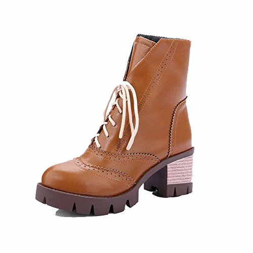 AgooLar Women's Lace up Round Closed Toe Kitten Heels Mid Top Boots Brown iy3ooTti