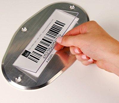 Floor Barcode Label Kit. 8 1/2'' W x 5'' H x .125'' D Aluminum, Floor Label, 10 Frames / pack, 6'' x 2''